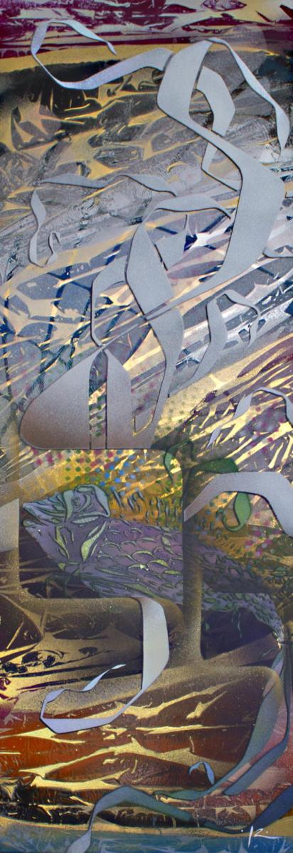 Série Cut-Uncut - Fish and cut - Aérosols sur métal - 80x30 cm - 450 €