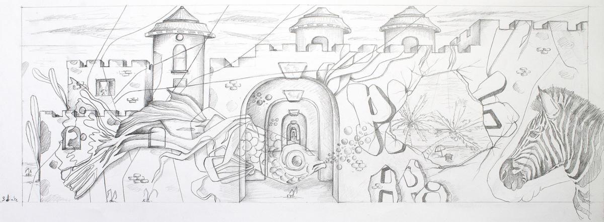 Fresque l'Allégorie du Monde - Le château & le voyage - Partie 3 droite - Paris 18 - Avril 2019