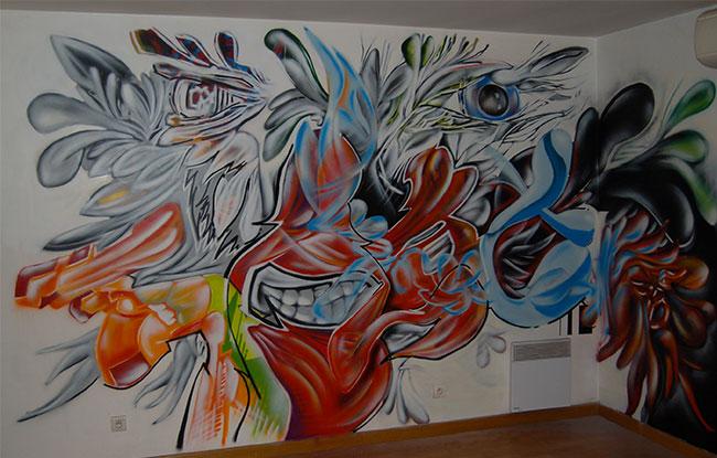 Éclat - Fresque en intérieur -  Paris 18 - 2015