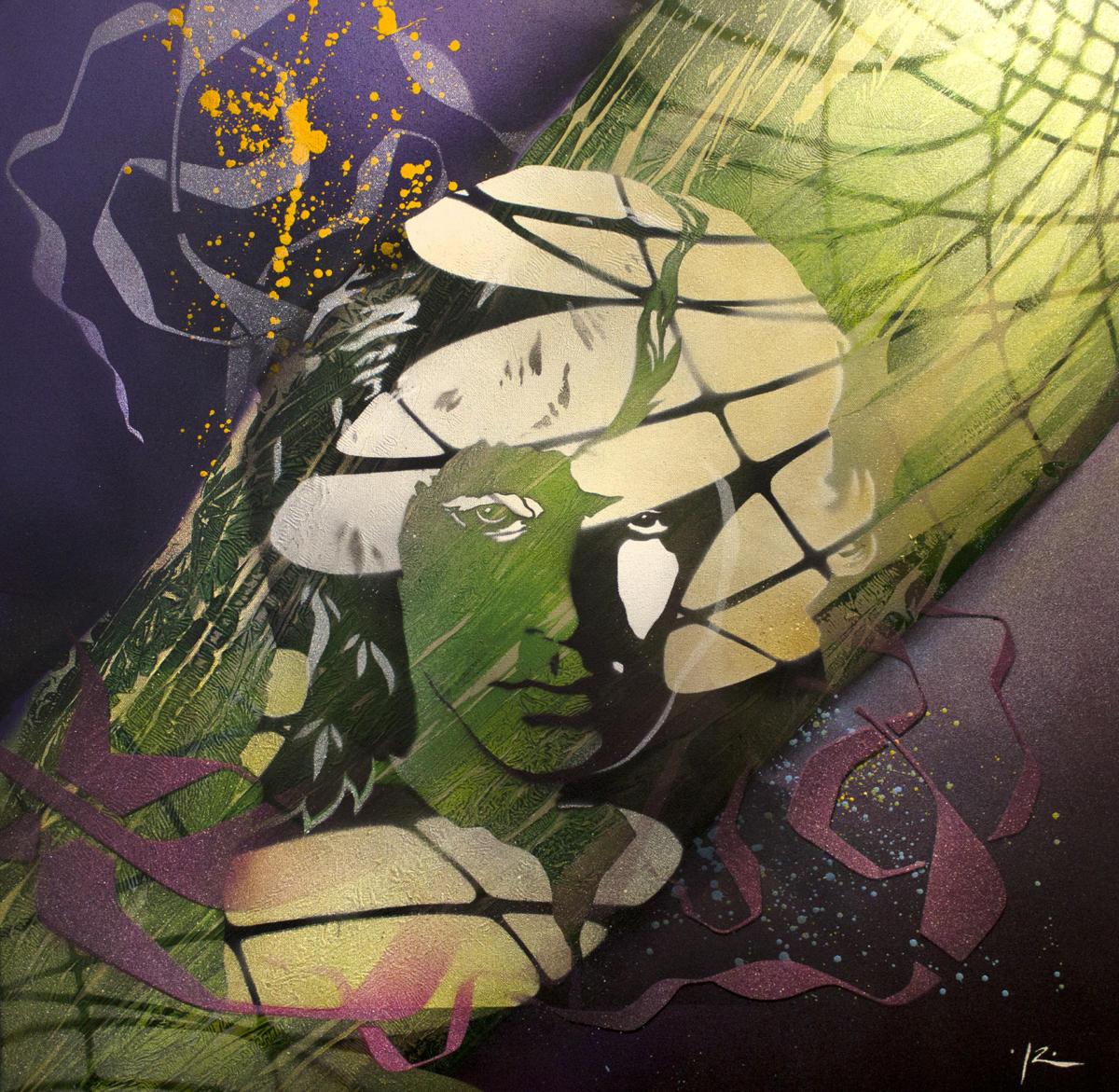 Série Psychedelic's Icons - Psy Jim - Aérosols sur toiles - 70x70 cm - 550 €